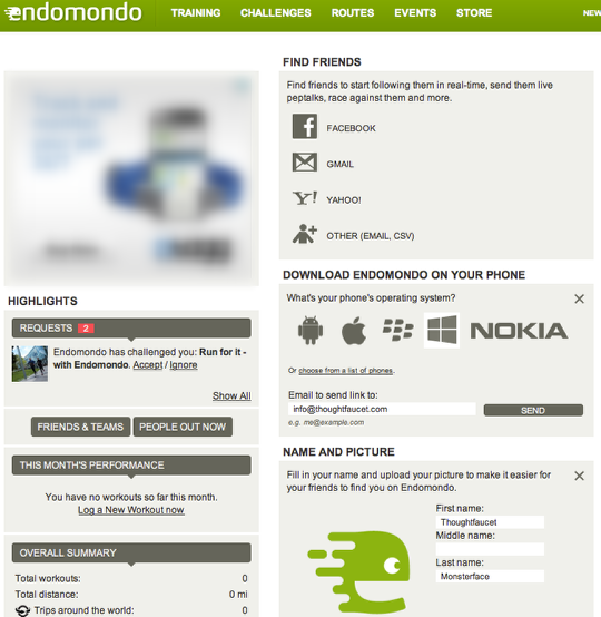 3: You are registered on Endomondo, you are one third done already!
