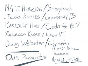 Nate Herzog, Storyhack; Jesse Krembs, Laboratory B; Bradley Hold, Code for BTV; Rebecca Roose, HackathonVermont; Doug Webster, Champlain Maker Faire; Organized by Amanda Levinson