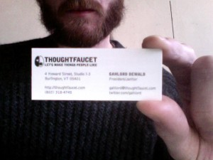 Thoughtfaucet: Let's Make Things People Like | the Thoughtfaucet interlocking logo | Thoughtfaucet contact information